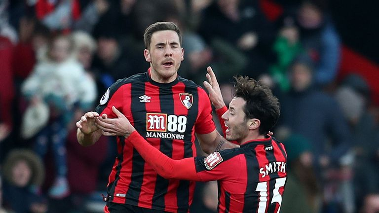 Dan Gosling celebrates his equalising goal for Bournemouth