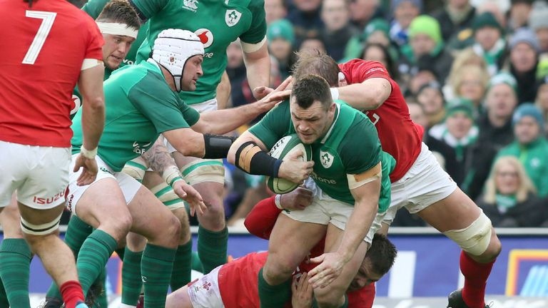 Cian Healy on the charge for Ireland