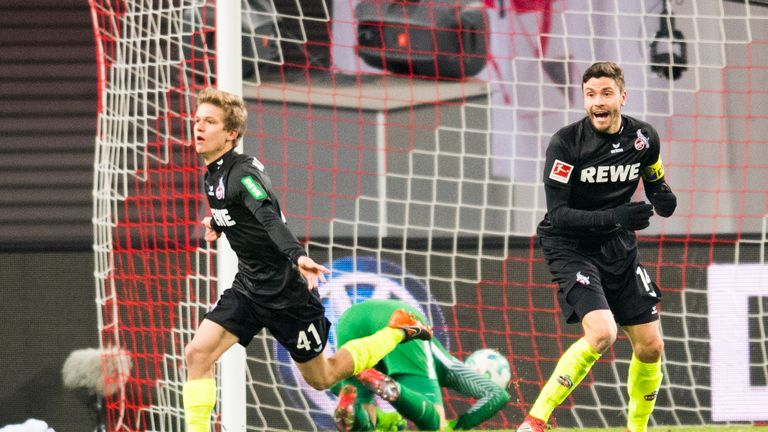 Cologne midfielder Vincent Koziello celebrates his equaliser against RB Leipzig