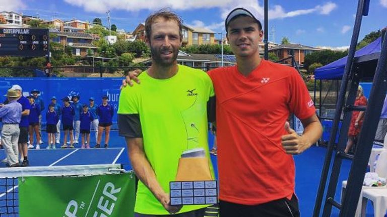 Daniel Altmaier (right) lost to Stephane Robert in the Australian final