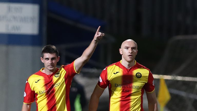 Partick Thistle striker Kris Doolan (left) needs one more goal to reach double figures for the season in all competitions.