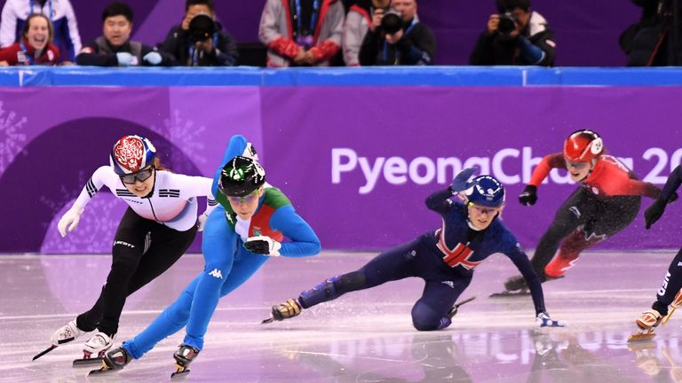 Christie falls on the final lap after appearing to collide with Yara van Kerkhof
