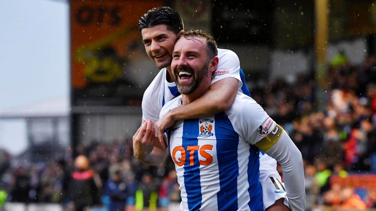 Kris Boyd celebrates one of the goals that has made him top scorer in the Scottish Premiership so far this season