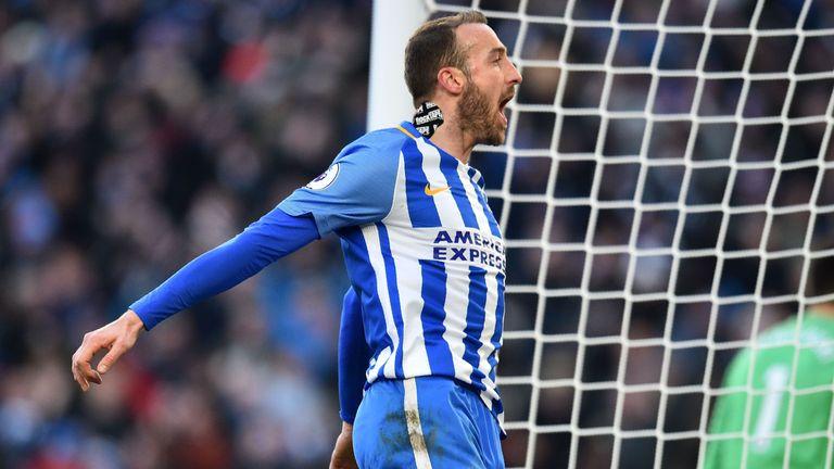 Glenn Murray celebrates after scoring Brighton's second goal