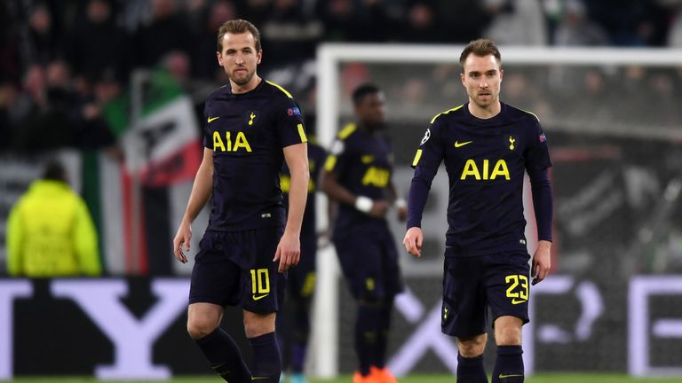 Kane (left) and Christian Eriksen were on target in Turin