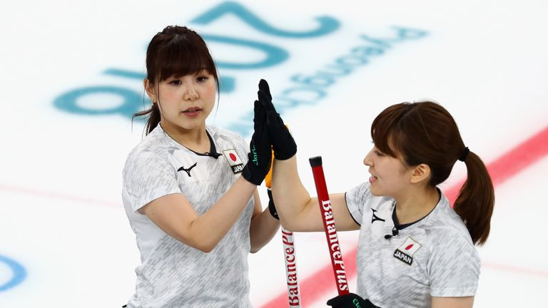 Yumi Suzuki and Yurika Yoshida of Japan celebrate