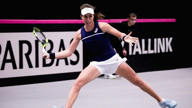 Johanna Konta beat Anett Kontaveit to give Great Britain an unassailable 2-0 lead over Estonia to reach a play-off on Saturday