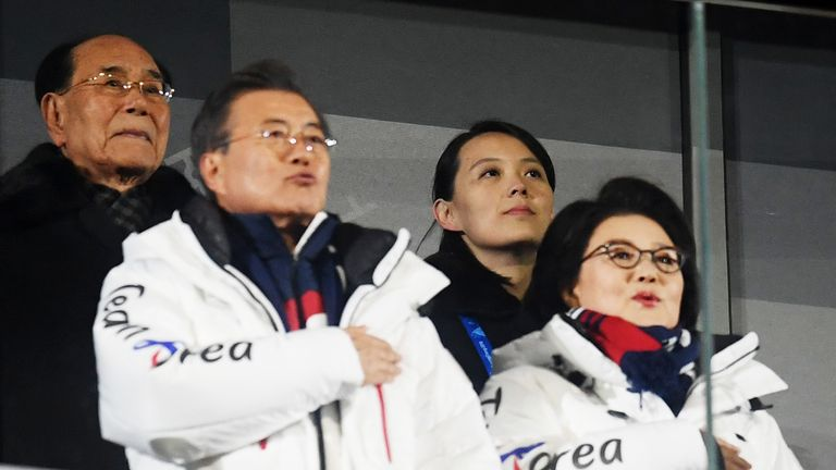 Kim Yo-jong sits behind South Korea president Moon Jae-in during the Opening Ceremony