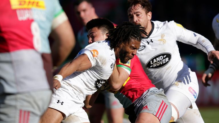 Kyle Eastmond was shown a red card for a swinging arm tackle on Marcus Smith