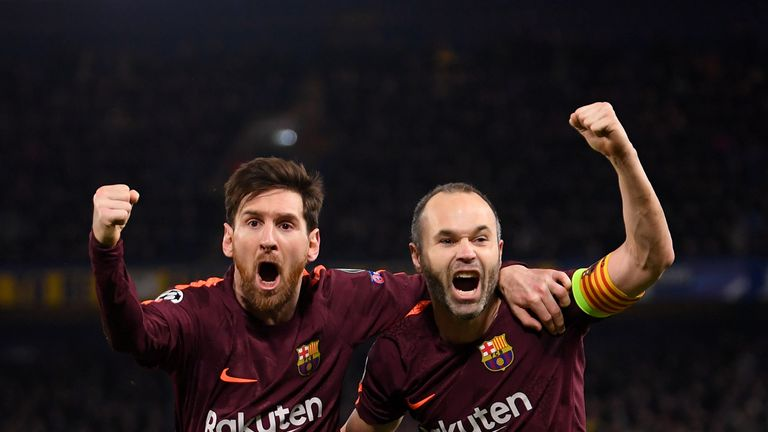 Barcelona have injury doubts over midfielder Andres Iniesta (right)