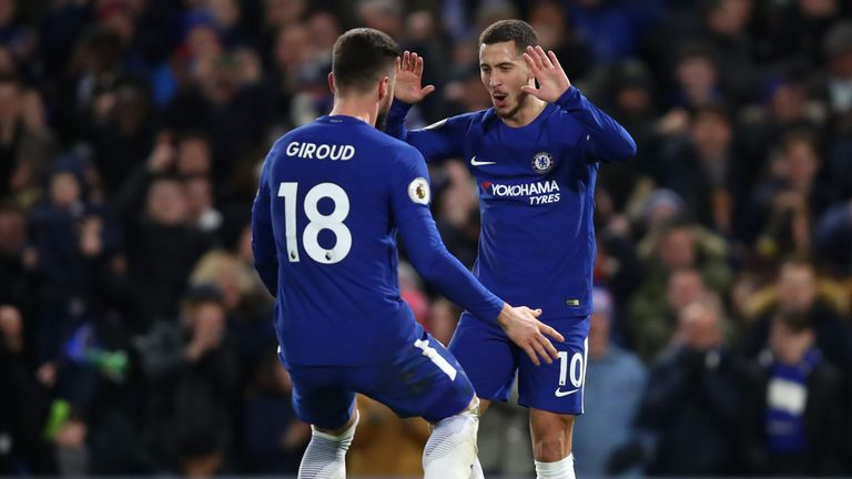 Eden Hazard and Olivier Giroud combined superbly as the Belgian put Chelsea into the lead against West Brom