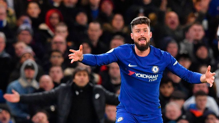 Olivier Giroud had a lively first start for Chelsea on Monday