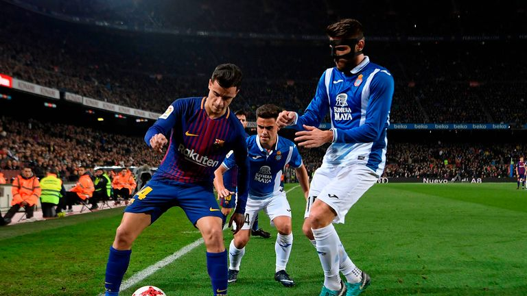 Philippe Coutinho faced Espanyol on his Barcelona debut