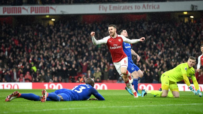 Arsenal's Aaron Ramsey celebrates one of his three goals on Saturday