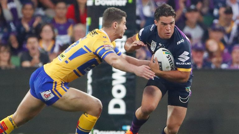 Brodie Croft scored one of Melbourne Storm's seven tries