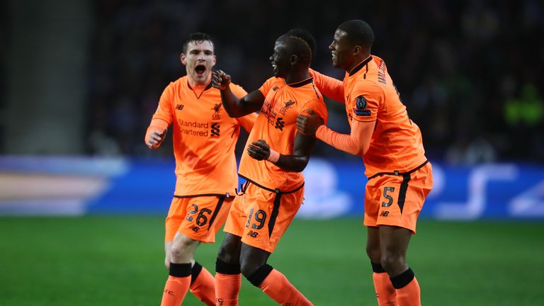Sadio Mane celebrates after scoring in Porto