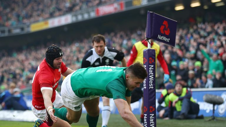 Jacob Stockdale of Ireland dives in for a first half-try during the Six Nations match between Ireland and Wales