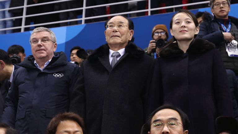 IOC President Thomas Bach (L), North Korean ceremonial head of state Kim Yong Nam (C) and Kim Yo-jong, sister of North Korea leader Kim Jong-un (R)