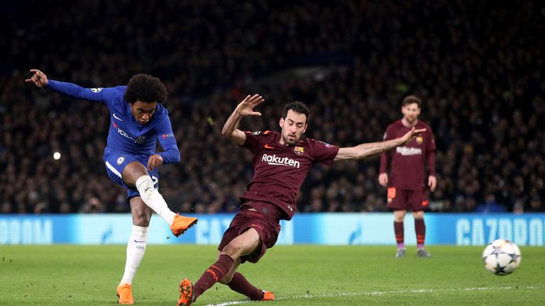 Willian scored the opener in Chelsea's 1-1 draw with Barcelona in midweek
