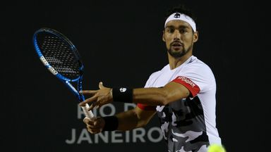 Watch Fognini catch his racket straight out of the air and go on to win the point.