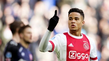Justin Kluivert celebrates after scoring for Ajax on Sunday