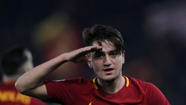 Cengiz Under of AS Roma celebrates