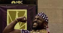 Mr. T cheers on Olympic curling
