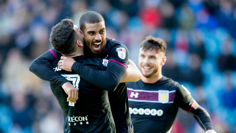 Lewis Grabban celebrates scoring for Aston Villa during the Sky Bet Championship match against Sheffield Wednesday