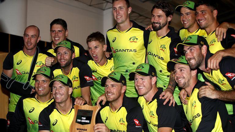 Australia pose with the T20 Tri Series Trophy following the International Twenty20 Tri Series Final match