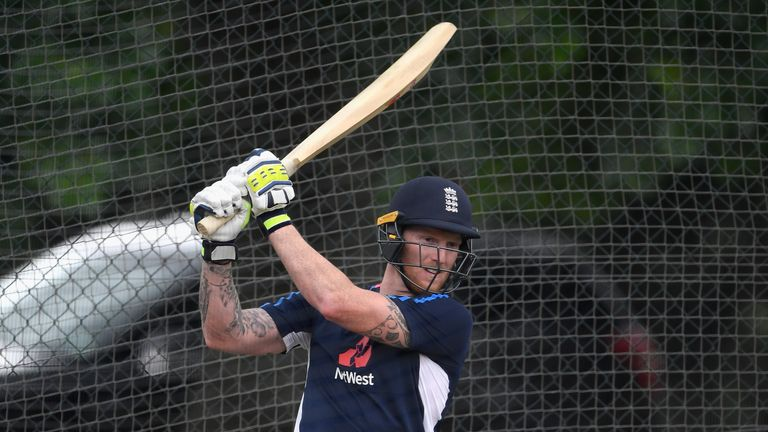 HAMILTON, NEW ZEALAND - FEBRUARY 17:  England player Ben Stokes in batting action during England Cricket nets at Seddon park ahead of their T2O match again