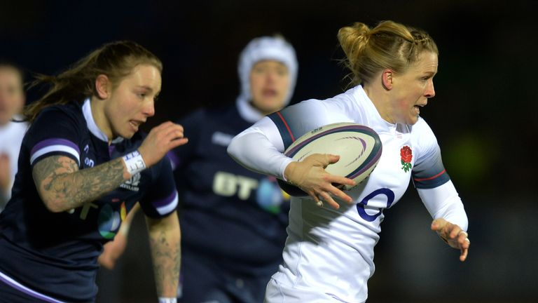 Danielle Waterman of England breaks free to score against Scotland
