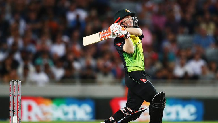 David Warner of Australia pulls the ball away for six runs during the International Twenty20 match against New Zealand