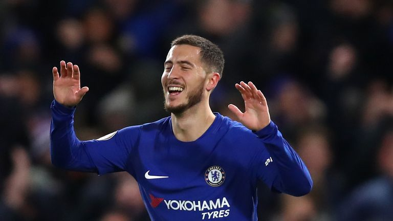 LONDON, ENGLAND - FEBRUARY 12: Eden Hazard of Chelsea celebrates after scoring his sides first goal during the Premier League match between Chelsea and Wes