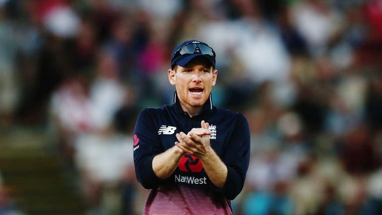HAMILTON, NEW ZEALAND - FEBRUARY 25: Eoin Morgan of England cheers on his team during game one in the One Day International series between New Zealand and