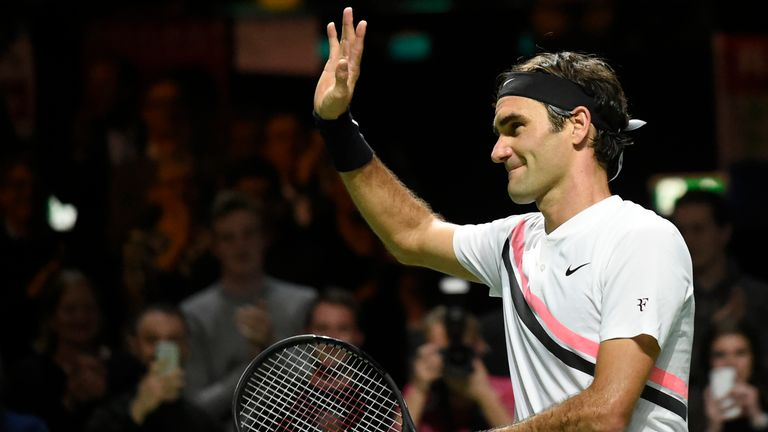 Switzerland's Roger Federer celebrates after victory over Netherlands Robin Haase in their quarter-final singles tennis match for the ABN AMRO World Tennis