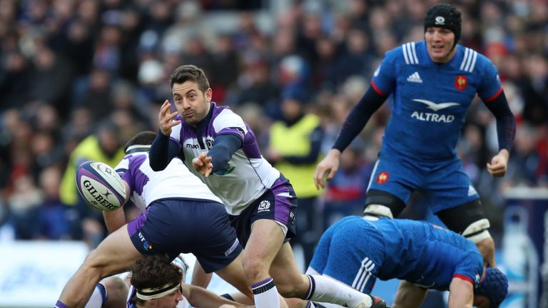 Greig Laidlaw made all seven of his kicks in Scotland's 32-26 victory over France
