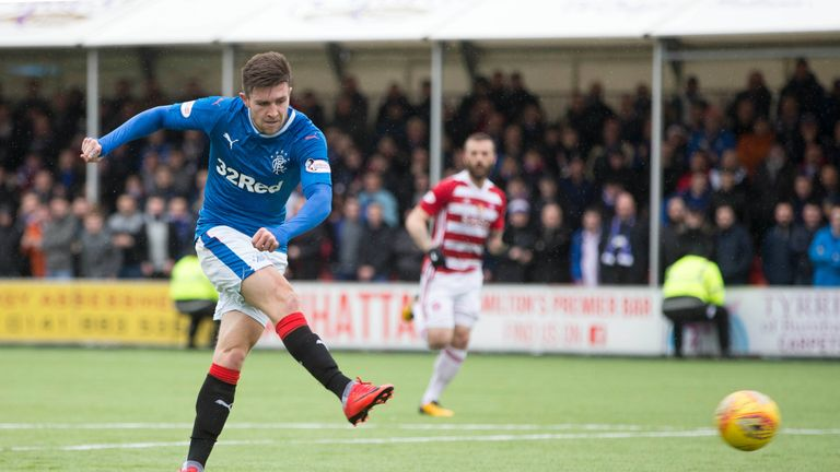 Rangers Josh Windass scores his side's fourth goal of the game during the Ladbrokes Scottish Premiership match at the SuperSeal Stadium, Hamilton.