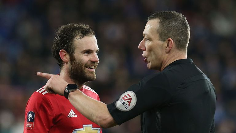 Juan Mata's goal was controversially ruled out by VAR