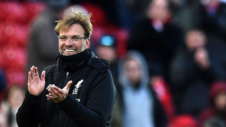 Jurgen Klopp celebrates the 4-1 win over West Ham at the final whistle