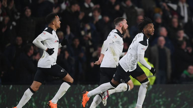 DERBY, ENGLAND - FEBRUARY 21:  Kasey Palmer of Derbycelebrates scoring to make it 2-2 during the Sky Bet Championship match between Derby County and Leeds