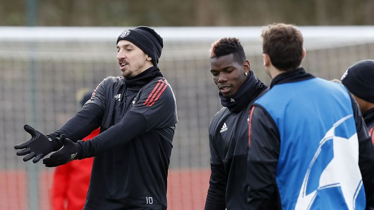 Manchester United's Zlatan Ibrahimovic (left) and Paul Pogba during the training session at the AON Training Complex, Carrington.