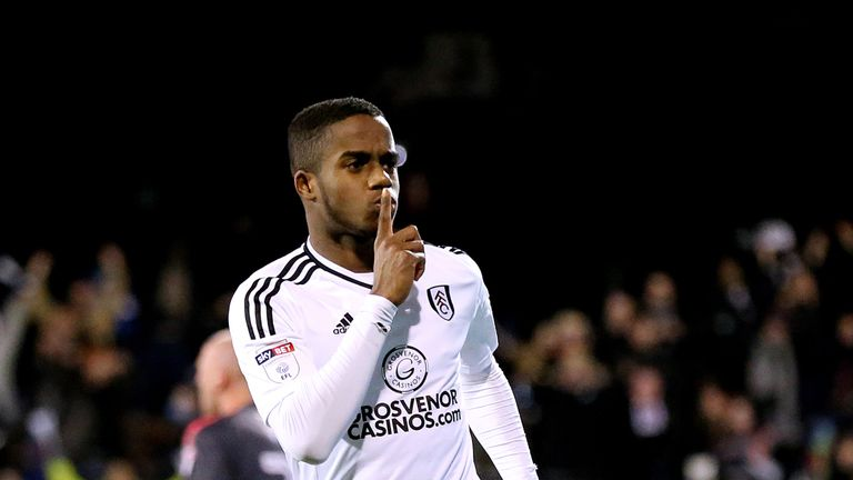 Fulham's Ryan Sessegnon celebrates scoring his sides first goal of the match during the Championship match against Wolves at Craven Cottage