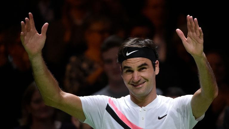 Roger Federer celebrates after victory over Robin Haase in their quarter-final singles tennis match for the ABN AMRO World Tennis Tournament