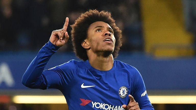 Chelsea's Brazilian midfielder Willian celebrates scoring the team's first goal during the English FA Cup fifth round football match between Chelsea and Hu