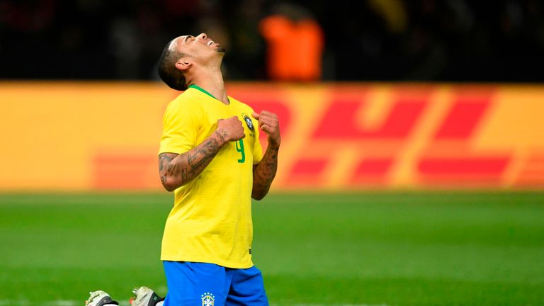 Gabriel Jesus celebrates after opening the scoring for Brazil