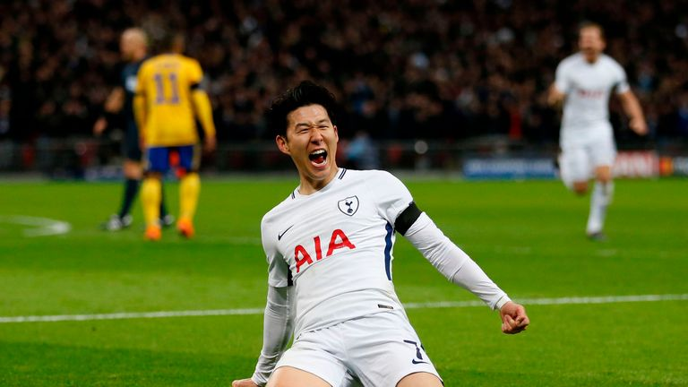 Heung-Min Son celebrates after giving Spurs the lead at Wembley