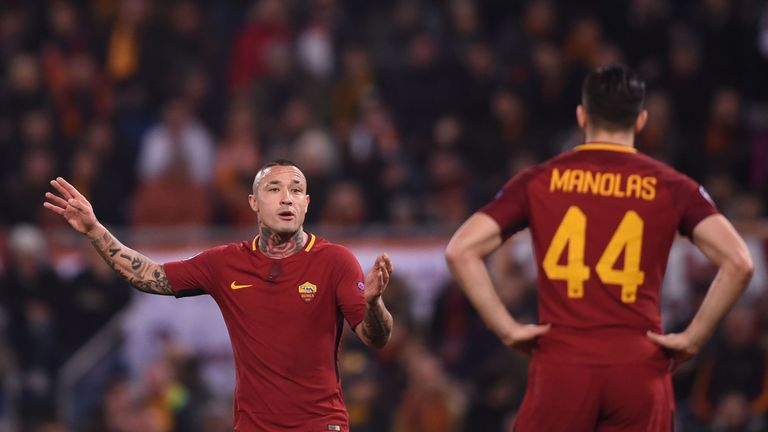 Radja Nainggolan gestures to a Roma team-mate during the match