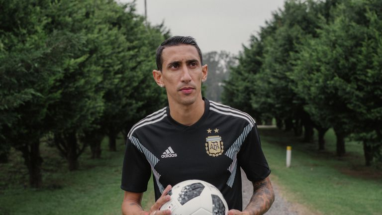 Angel Di Maria models the new Argentina World Cup 2018 away shirt (credit: adidasUK)