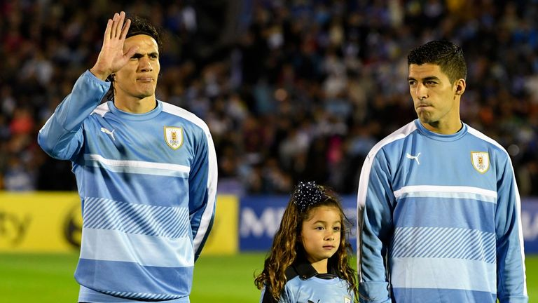 Edinson Cavani (left) and Luis Suarez will be a formidable attacking duo for Uruguay