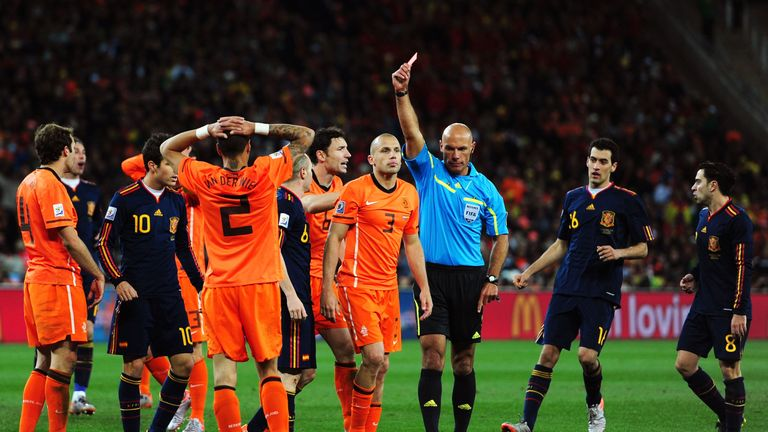 Howard Webb took charge of the World Cup final between the Netherlands and Spain in 2010